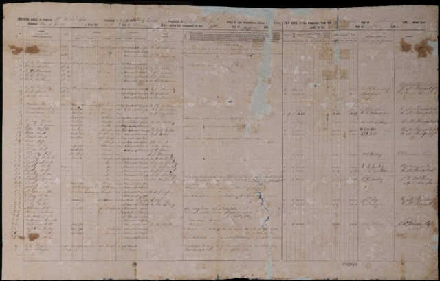 Pictured is an original company pay roll for Company G of the 38th North Carolina Infantry, a new addition to the State Archives of North Carolina